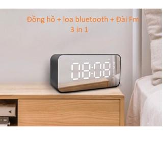 [Mã ELFLASH5 giảm 20K đơn 50K] Loa Bluetooth Kiêm Đồng Hồ Mặt Gương Hiển Thị Đèn Led - Đài FM - Đồng Hồ Báo Thức