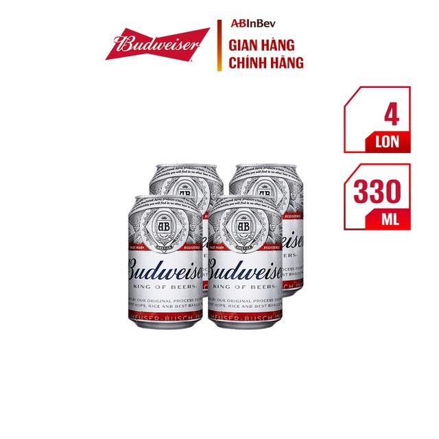 Pack 4 lon bia Budweiser