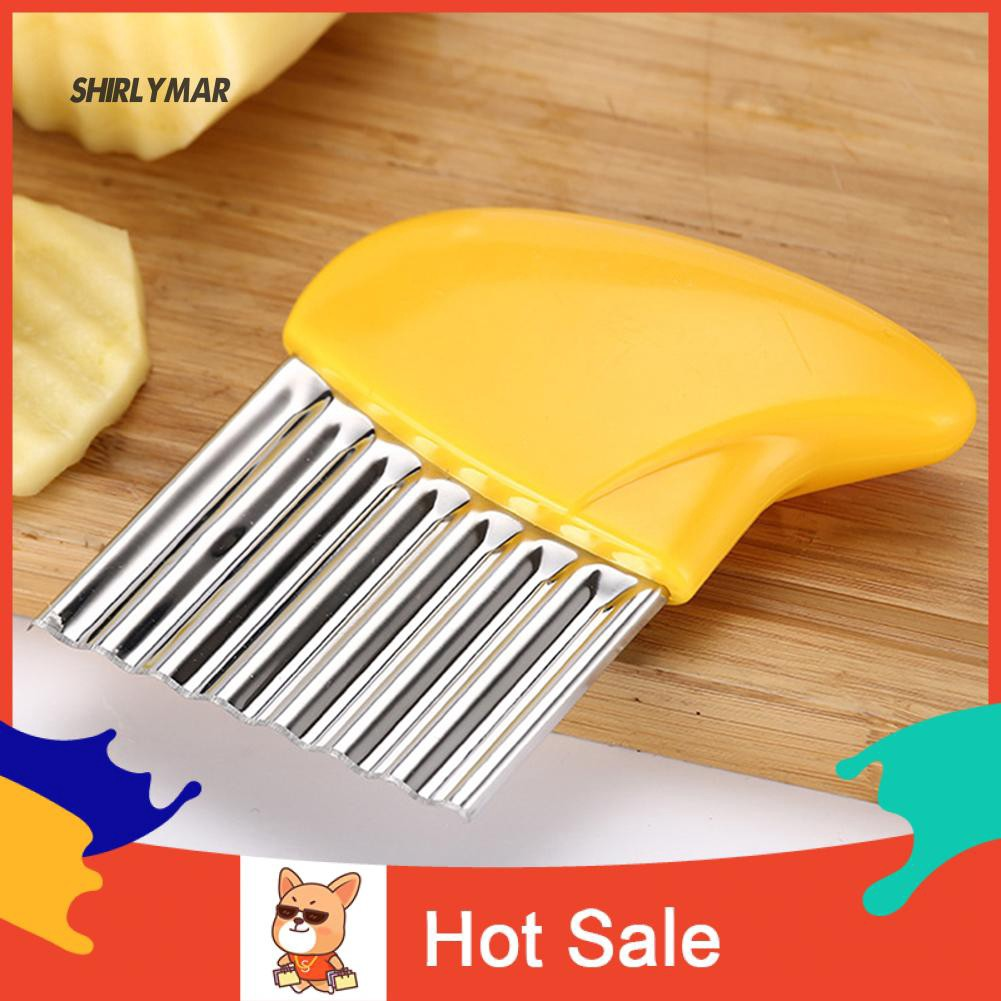 ஐSr Home Kitchen Multifunctional Potato Onion Wave Cutter Slicer Chopper Peeler Tool