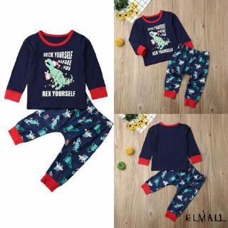 ➤GMLChristmas Newborn Baby Boy Girls Long Sleeve Dinosaur Print Cartoon Clothes T-shirt Tops Pants Autumn Winter
