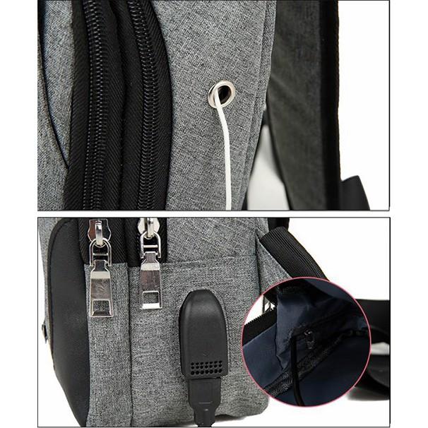Túi đeo chéo nam nữ tích hợp cổng kết nối USB, chất liệu vải canvas dày cao cấp, chống nước cao cấp T513