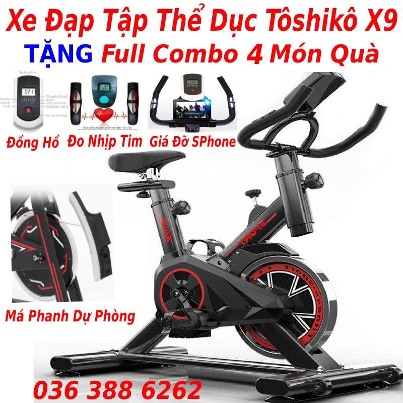 Xe đạp tập thể dục gym toshiko x8 tặng trụ đấm bốc + má phanh sơ cua + đo nhịp tim + đồng hồ 7 thông số, bảo hành 3 năm