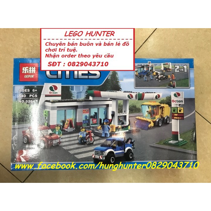 Bộ lắp ráp Lego Lepin 02047 2 in 1 : Trạm xăng – Trạm sửa chữa xe