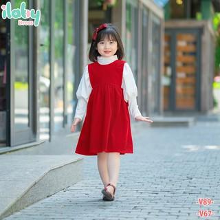 Yếm cho bé nhung đỏ nơ sau lưng ILABY từ 6 - 8 tuổi [V67]