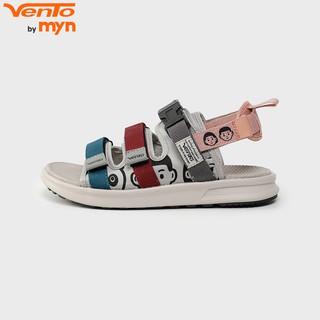 Giày Sandal Vento 3 quai NB80 màu ghi xanh ngọc hoạ tiết hoạt hình đế công nghệ IP