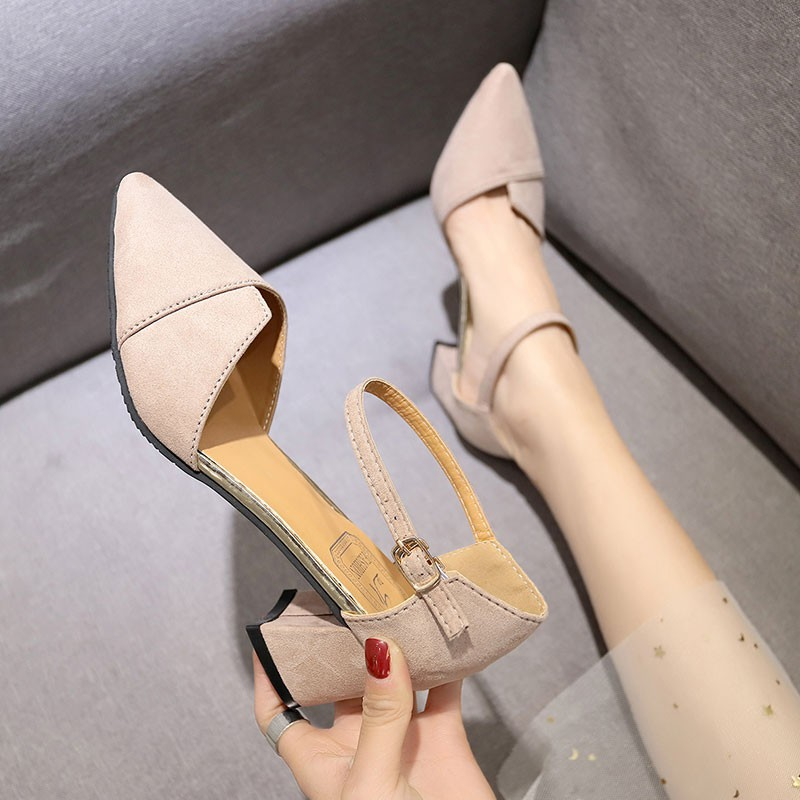 Rough single shoes women's sandals students pointed high heels