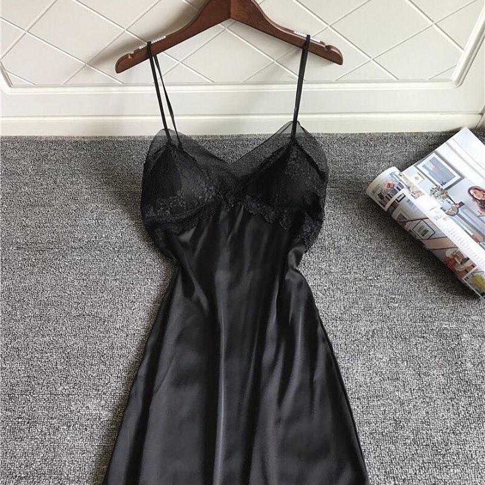 Váy ngủ sexy lụa satin cao cấp phối lưới ren gợi cảm giá rẻ-HONEY