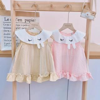 Áo váy caro Voan Thỏ F26 đáng yêu cho bé gái