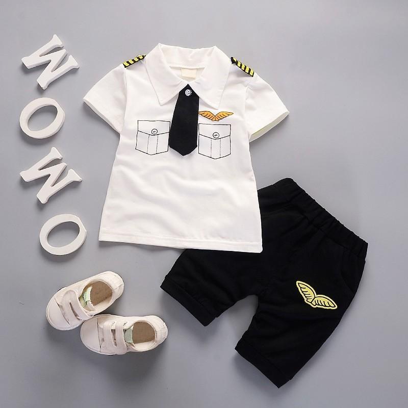 BBWORLD Quần áo trẻ em đặt bé trai ve áo giản dị bông T-shirt + quần short