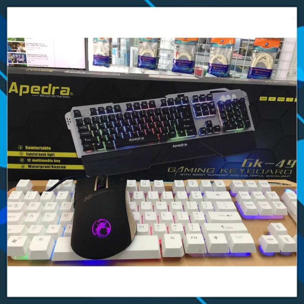 [FreeShip] Bộ phím chuột GAMING Apedra GK49 + A5 - Led Rainbow - Chuột A5 Led RGB - Có kê tay  [Lỗi 1 đổi 1]