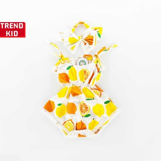[Mã TREND20 giảm 15% đơn 99K] Bộ Jumpsuit cho bé gái, trẻ sơ sinh kèm turban hình cam chanh michley