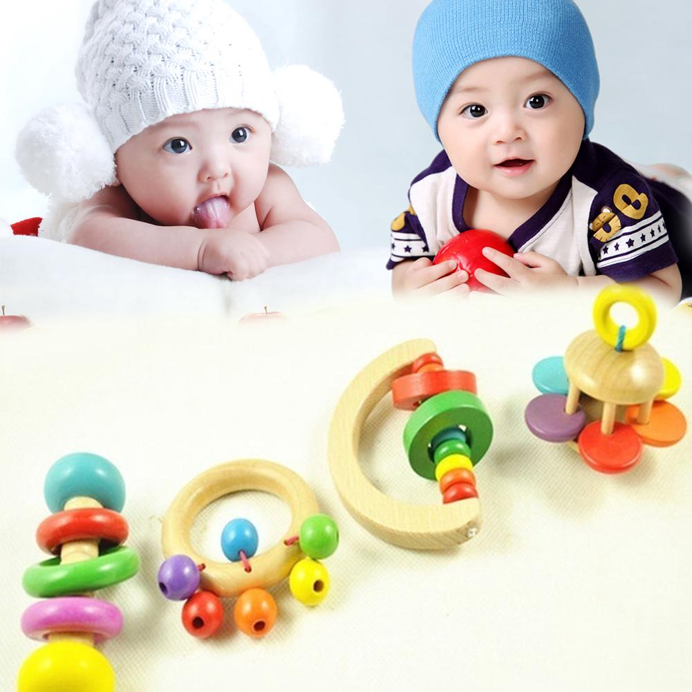 Babys Educational Toys Children Wooden Handle Rattle Bell for Infant Baby Musical Percussion Instrument