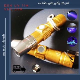 Đèn UV tím Soi Giấy Tờ Tiền Giả Cho Tiệm Cầm Đồ Sạc USB Vỏ Vàng