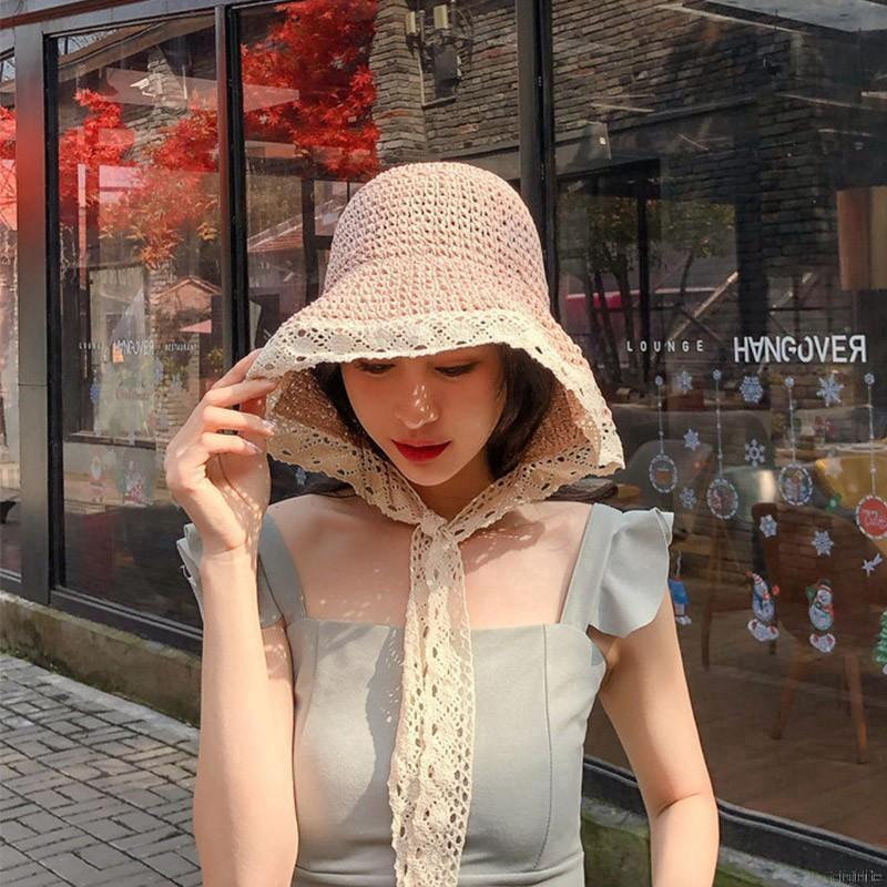 Mũ rộng vành đan mây phong cách công chúa đáng yêu cho nữ