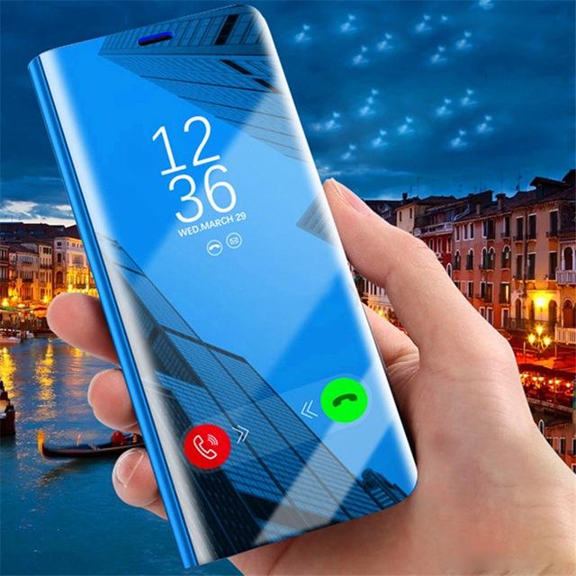 Ốp lưng có nắp gương hiển thị giờ cho điện thoại Samsung A5 A6+ A6 A7 2018