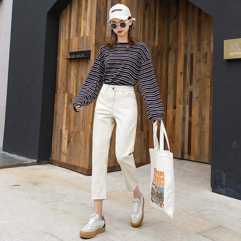 2019Kami ShinpoFashion Korea beige autumn and winter was thin high waist straight pants loose trousers casual jeans wide