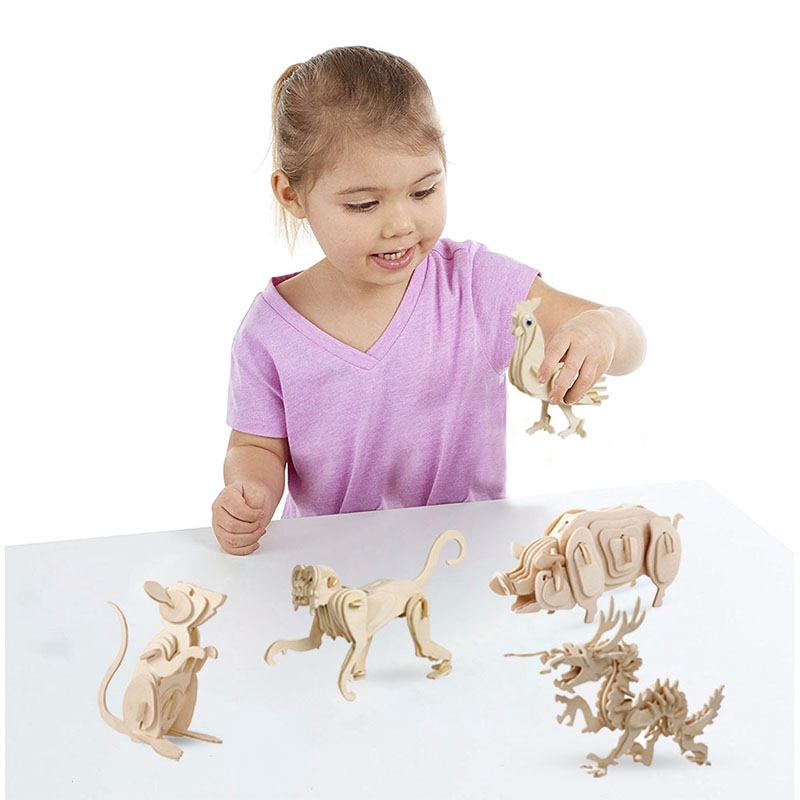 Animal Model Wooden Puzzles Toys Creative 3D Stereoscopic Jigsaw Puzzle