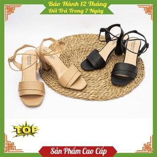 Giày sandal nữ đế cao 7p, sandal cao gót quai ngang bản to chất liệu da sần cao cấp