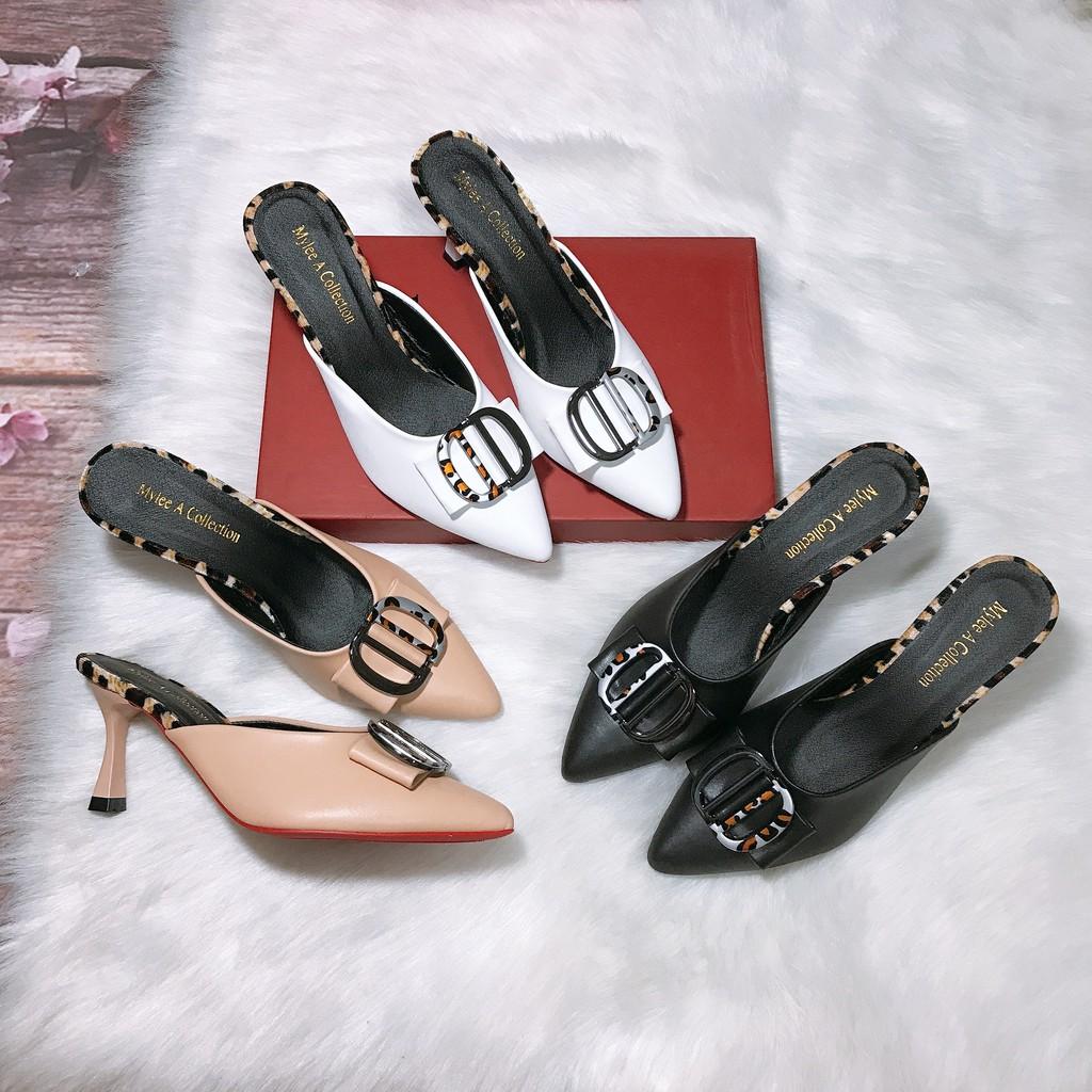 Giày sục nữ cao gót 7 cm da mềm, giày sục nữ có 3 màu đen kem và trắng