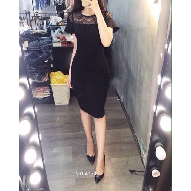 [Sale mùa hè] Đầm body thun cát phối ren ngực[TN]