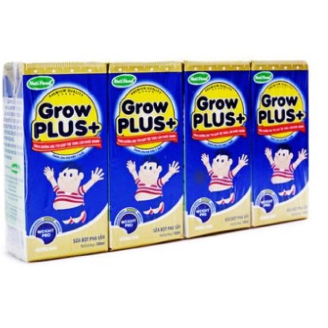 Sữa bột pha sẵn hương vani Grow Plus+ NutiFood 4 hộp*180ml