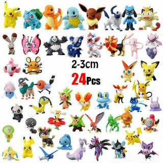 24pcs/set Pikachu Pokemon Mini Action Figure 2-3cm Pocket Monster Toys Random