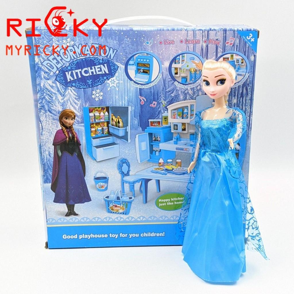 Búp bê công chúa băng giá Elsa và dụng cụ nhà bếp - Ngôi nhà búp bê Hãng No  brand