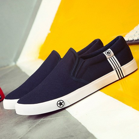 ⚡ Slip on nam 2018   Giày lười vải phong cách Hàn Quốc - 3 màu đen, trắng, xanh - Mã SP: 6629