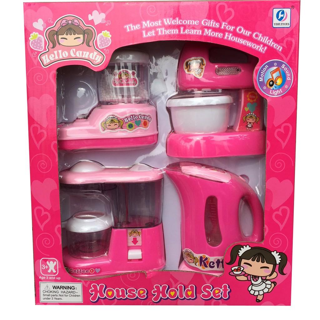Bộ đồ chơi bếp 4 món có nhạc, đèn và hoạt động