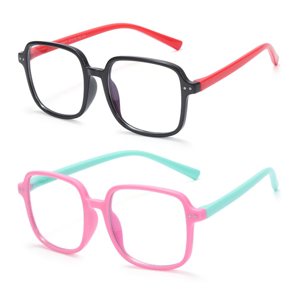 DIACHA for Boys Girls Nerd Eyeglasses Silicone Computer Gaming Glasses Kids Blue Light Glasses Anti-eyestrain Age 3-10 Square Frame UV400...
