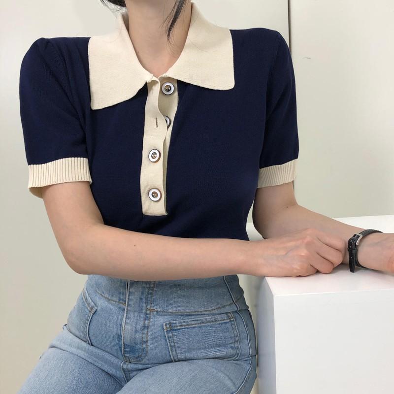 Áo thun nữ Ngắn tay Cổ bẻ POLO Phối cúc Ulzzang Hàn Quốc Áo Phông thun nữ Tay ngắn Có cổ Retro Thời trang