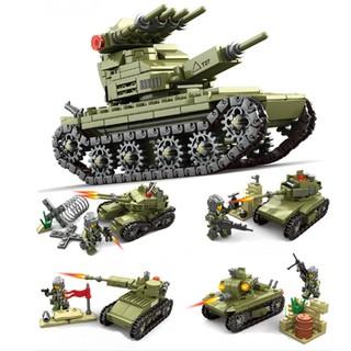 Bộ lắp ráp lego biệt đội xe tăng kết hợp 4 in 1
