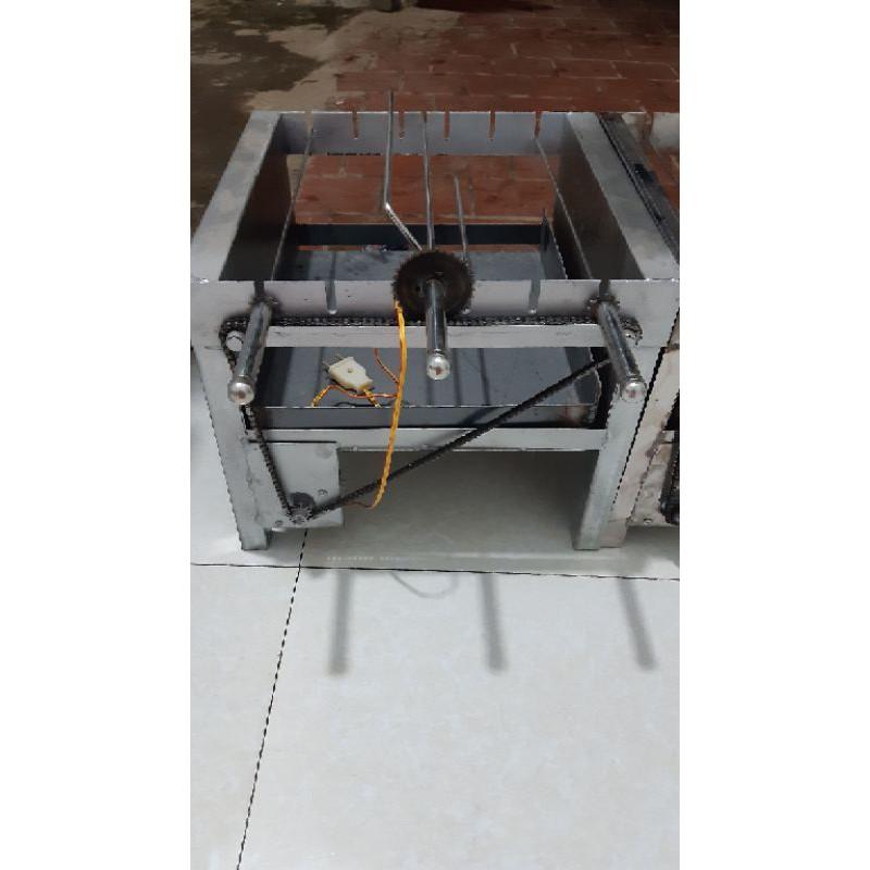 Máy nướng thịt chả mini bếp nướng than hoa tại nhà lò quay gà vịt mô tơ tự động (kèm 6 xiên đơn và 1 xiên gà inox)