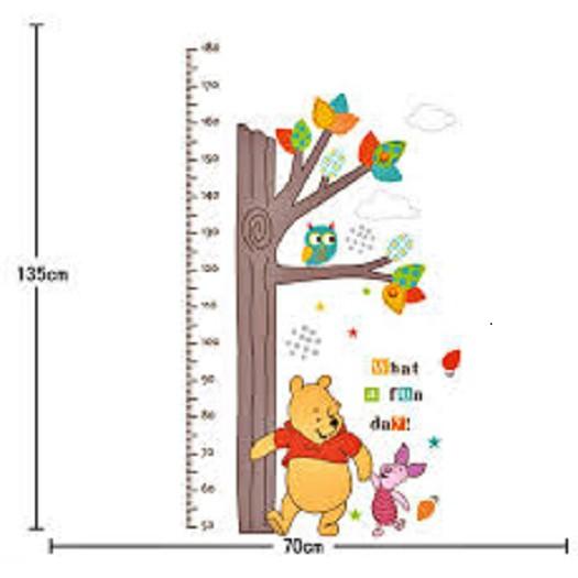 Decal dán tường đo chiều cao chú gấu pooh