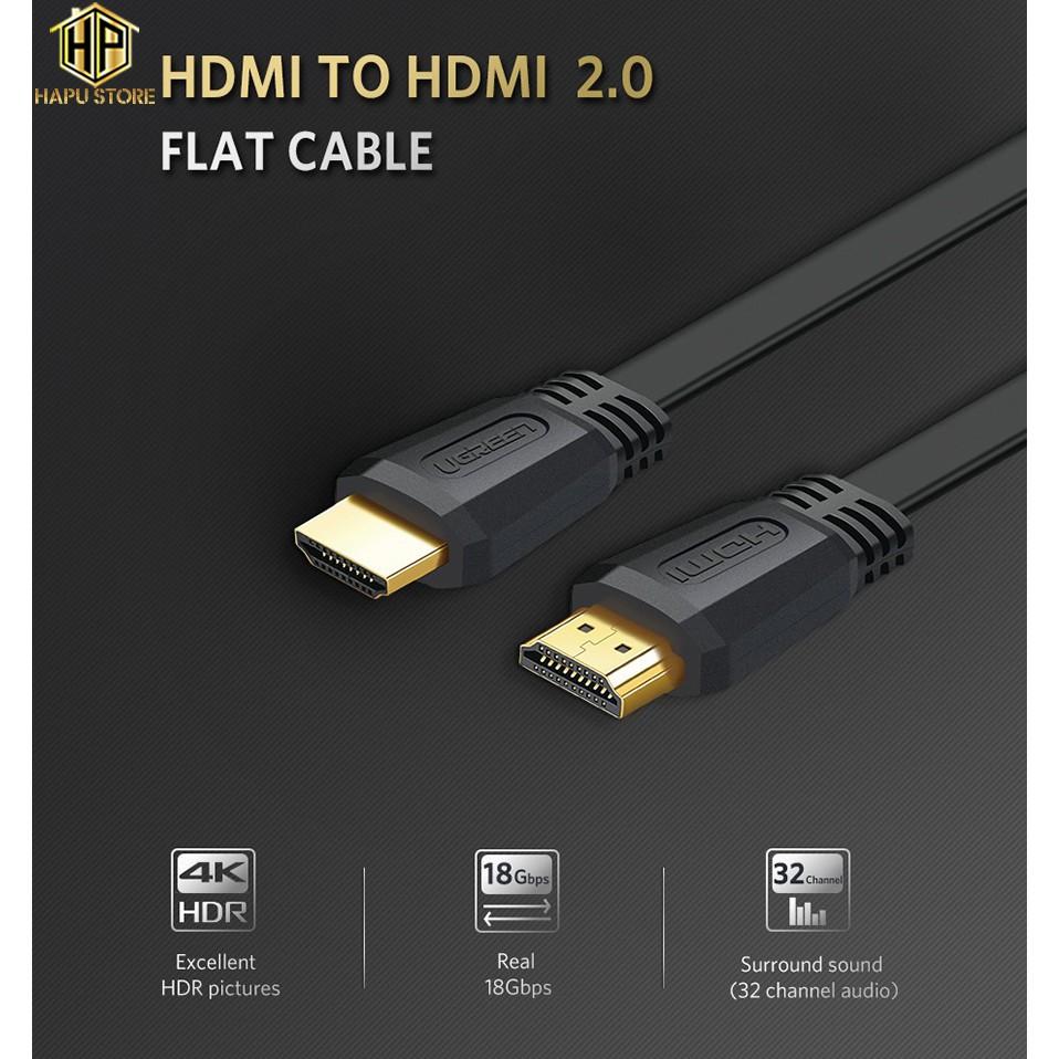 Cáp HDMI 2.0 dẹt Ugreen 50819 dài 1,5m độ phân giải 4K chính hãng - Hapustore