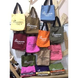 Túi tote vải canvas có khóa kéo, nhiều màu sắc thumbnail