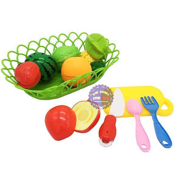 Bộ đồ chơi rổ đựng trái cây, rau củ cắt bằng nhựa