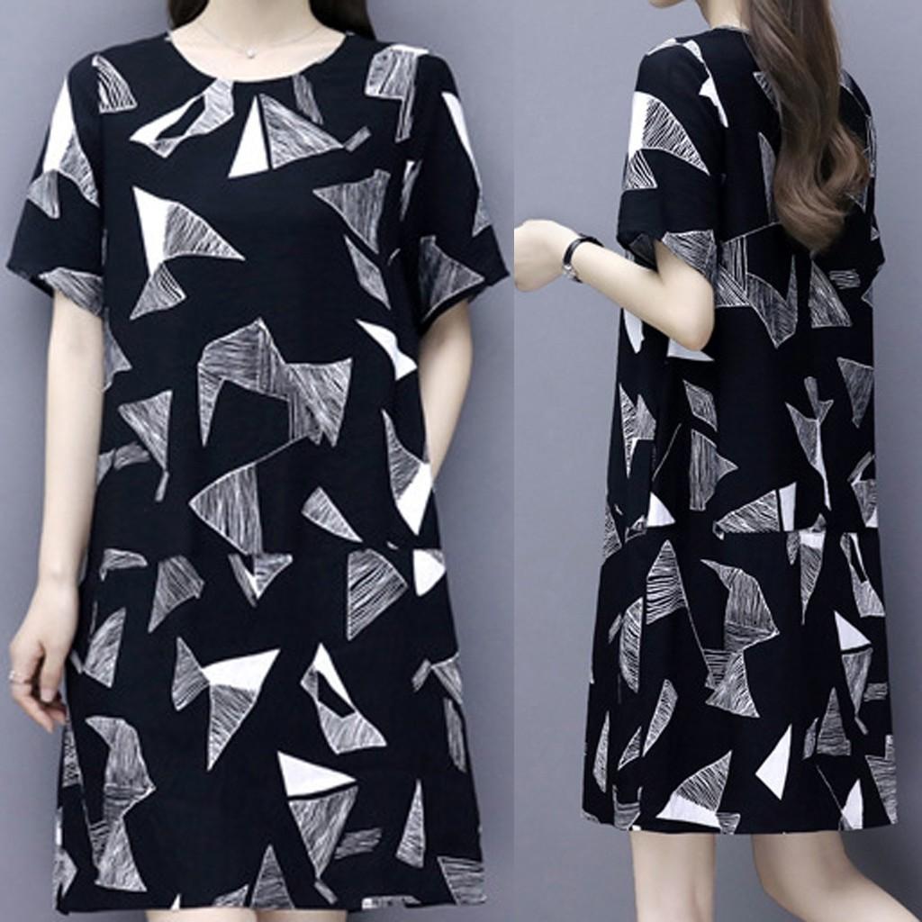 Đầm thun ngắn tay in hoạt hình thời trang cho nữ