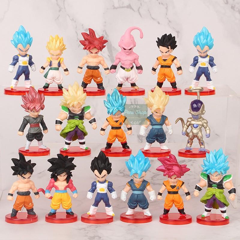 Bộ 16 Mô Hình Dragon Ball Nhân Vật Chibi Goku Gogeta Vegeta Broly Gohan Frieza Buu Ver.2 Figure Anime- 7 Viên Ngọc Rồng