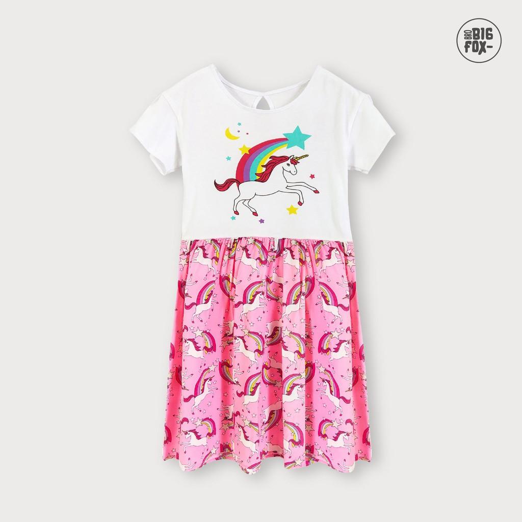 Đầm Cho Bé Gái Miss Meow Tới Size Đại . Váy Cotton Thun Trẻ Em In Ngựa Tay Xếp