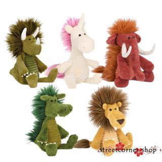 ✿Sc♚Kids Plush Cartoon Animals Shaped Toys Mammoth Rhino Lion Unicorn Wild Boar Dragon toy