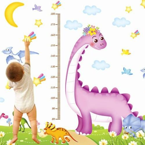 Decal dán tường đo chiều cao khủng long ( 2m * 1m6)