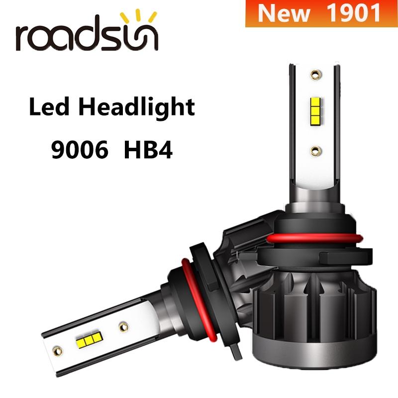 New  Roadsun Led Headlight 1901 9006 Car Driving Light 50W 8000LM 6000K IP68 Waterproof Fanless