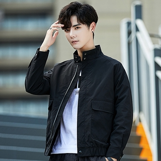 Fall men's loose casual spring and autumn all-match stand collar jacket men