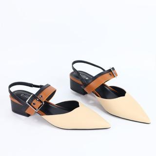 Giày cao gót Cillie thời trang mũi nhọn phối dây hở gót cao 3cm 1027