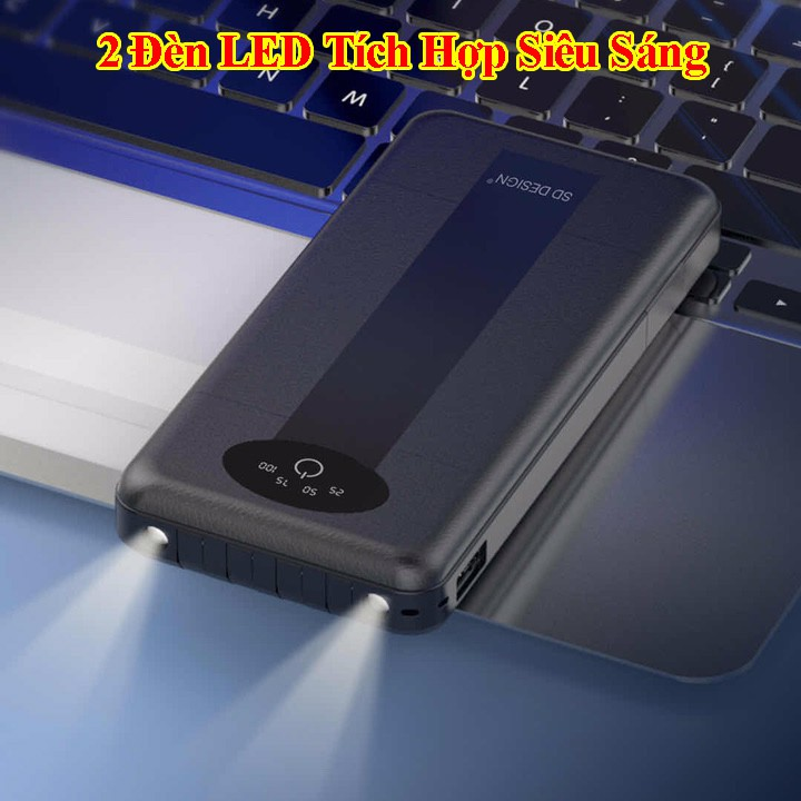 [Free Ship] Sạc Dự Phòng SD G01 Tích Hợp 4 Cáp Sạc Micro, Lingtning, TypeC Cho Xiaomi Samsung IPhone Oppo, Pin 10.000mAh
