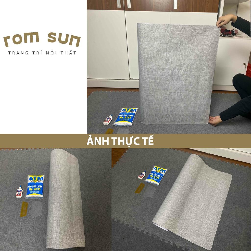 KHỔ 90CM   Giấy dán tường vintage 3D giả vải - Decal dán tường vải dán phòng ngủ phong cách hàn quốc cao cấp
