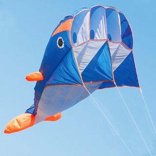 3D Kite Huge Frameless Soft Parafoil Giant Dolphin Kite Blue