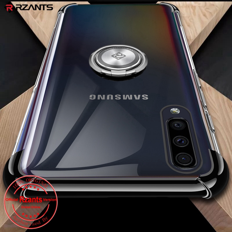 Samsung Galaxy A50 Case Plating Shockproof Airbag With Kickstand Transparent Crystal Soft TPU Back Cover