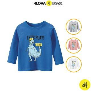 Áo thun dài tay cổ tròn 4LOVA cho bé trai in hình khủng long mẫu 1 BT-ATKL